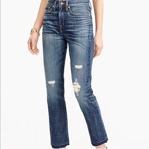 Point Sur Denim Distressed High Rise Raw Hem Jeans